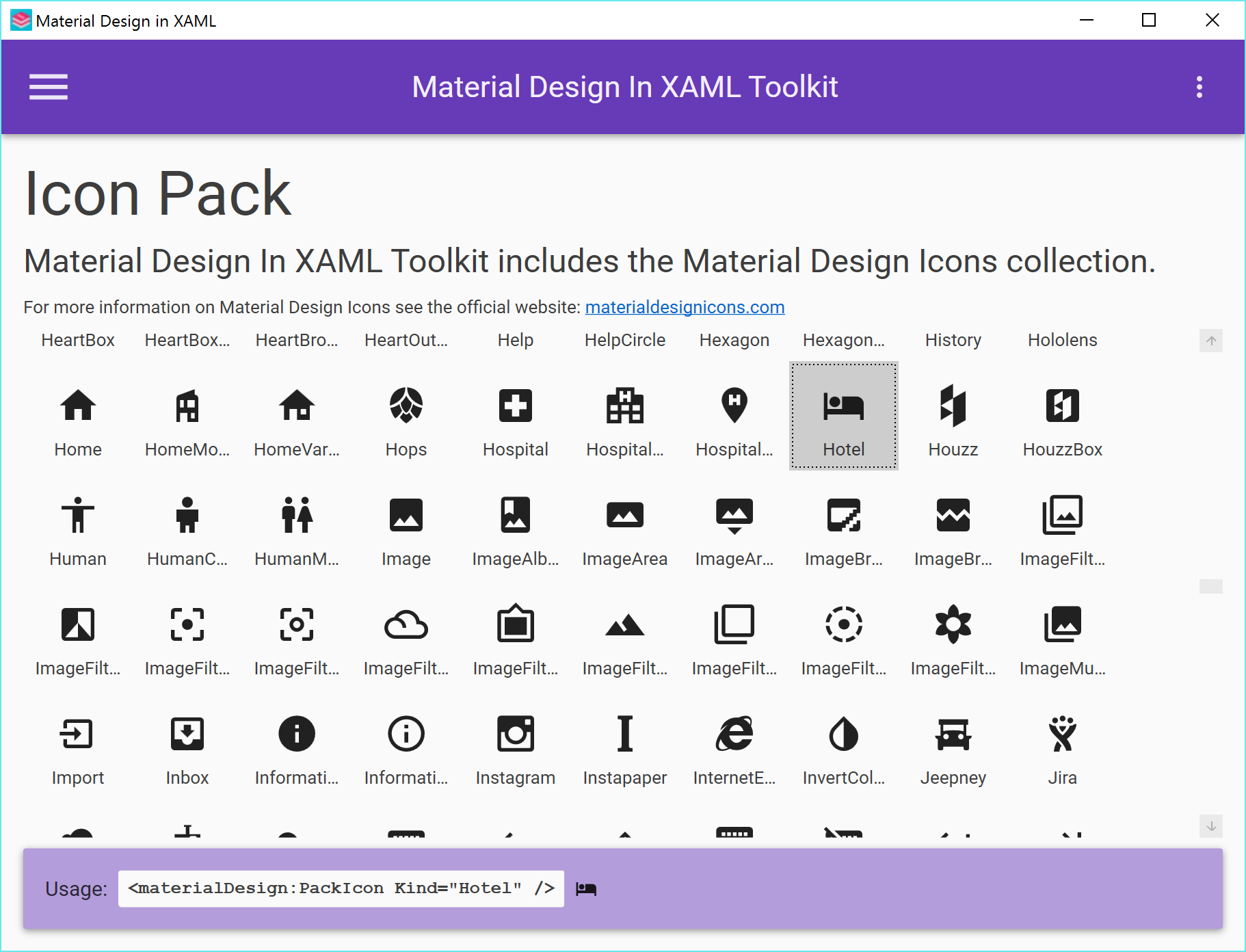 Material Design Icons Home